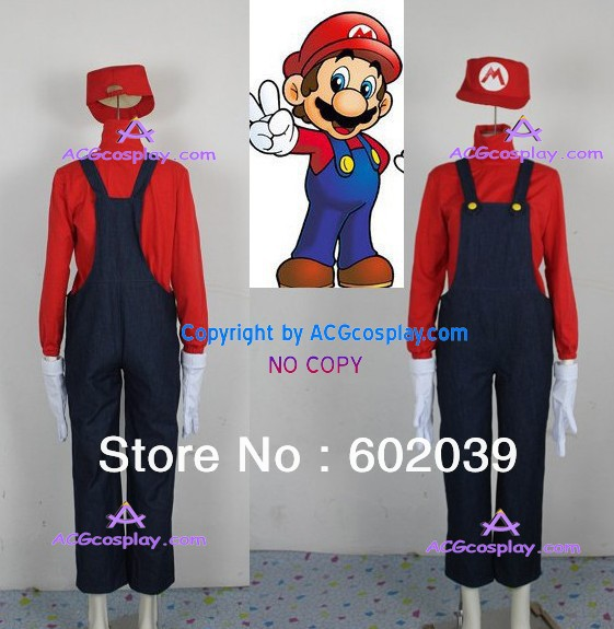 Super Mario Bros Mario Cosplay Costume denim made include cap