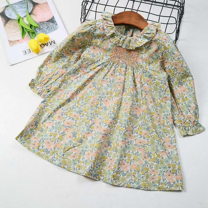 Summer&Spring Floral Pattern Baby Girls Dress Full Print Party Boutique Smocking Flower Pattern Dress for Girls Cherry Clothes
