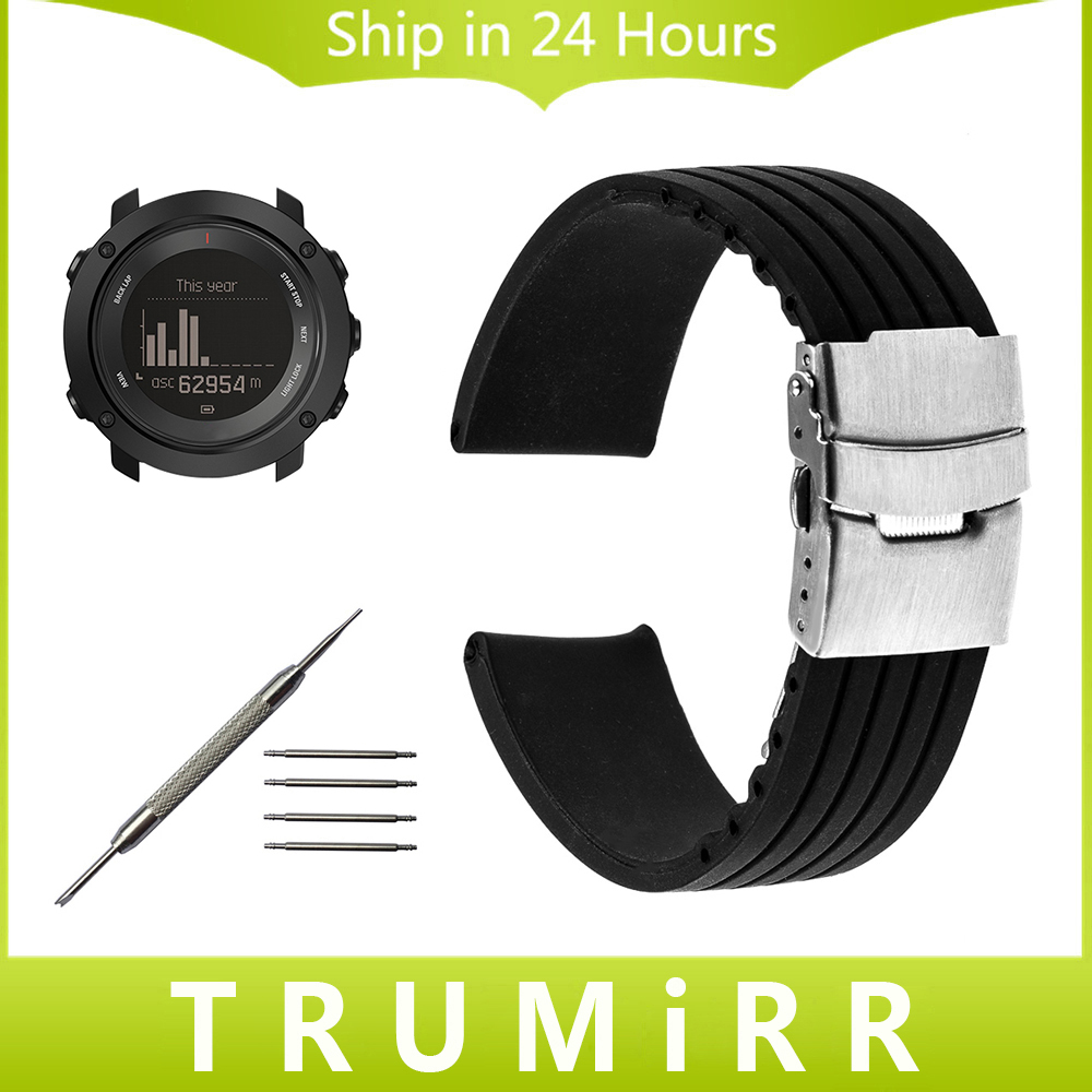 Silicone Rubber Watchband + Tool for Suunto Ambit 3 Vertical / Spartan Sport HR Steel Safety Buckle Strap Wrist Bracelet Black suunto spartan sport wrist hr forest special edition