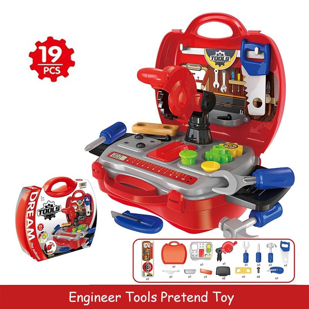 цены на Simulation Electronic Maintenance Tools Repair Tool Toy Pretend Play Set Portable Toolbox Children Educational DIY Kids Gift  в интернет-магазинах
