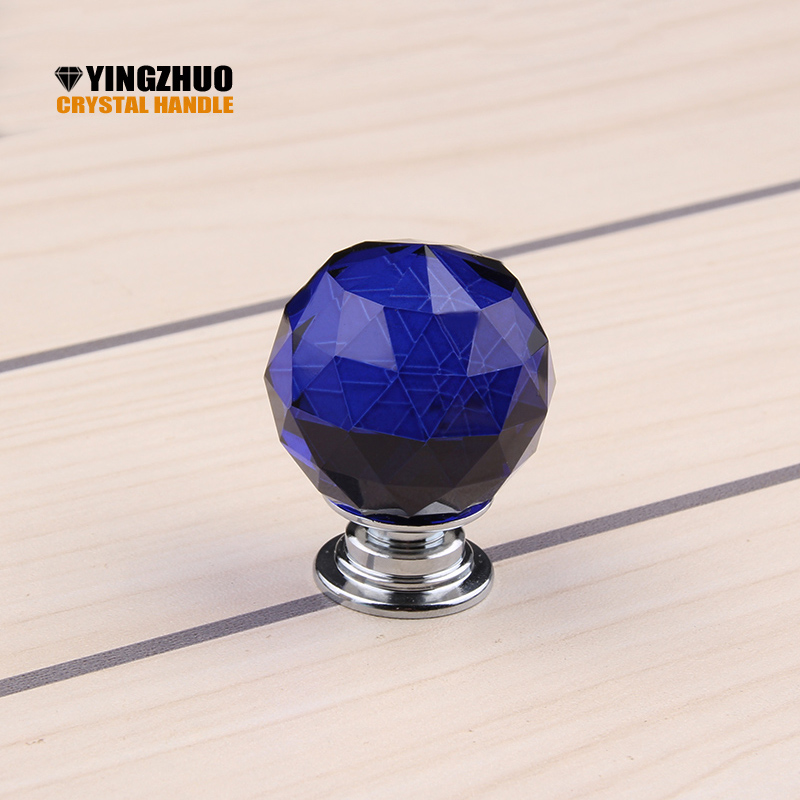 30mm 1pack/10 Pcs 30mm Blue Ball Shape Crystal Glass Drawer Cabinet Knob Pull Handle Kitchen Door Wardrobe Hardware YZ-2003 10 pcs 30mm diamond shape crystal glass drawer cabinet knobs and pull handles kitchen door wardrobe hardware accessories