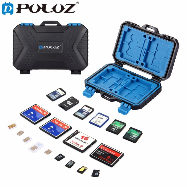 PULUZ 27 in 1 Memory Card Case Holder Waterproof Storage Box Protector for 4CF+ 8SD+9TF+ 1Card PIN +1SIM +2Micro SIM +2Nano SIM