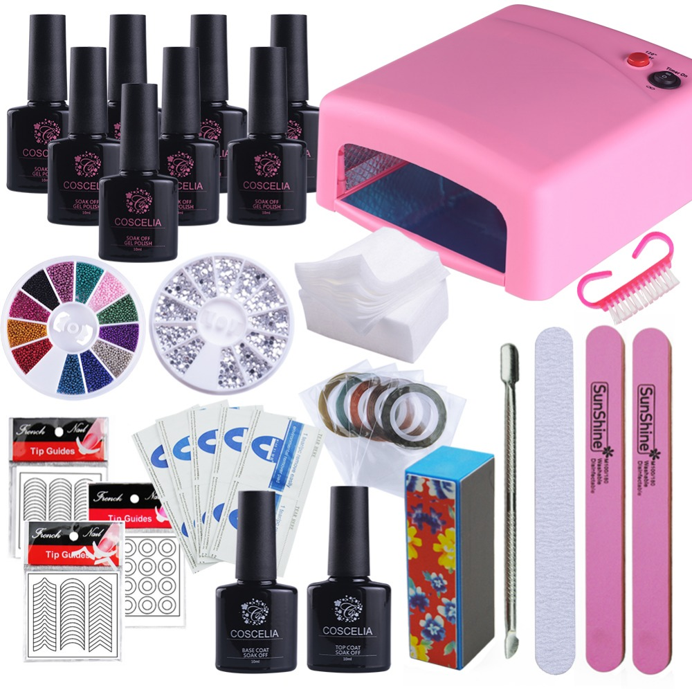 Best Gel Nails Set: Nail Art Manicure Set 36W UV Nail Lamp 8 Colors Nail Gel