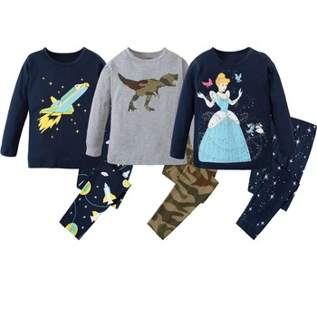 Children Clothes Baby 2pc Long Sleeve Cotton Pajamas Sets Kids Sleepwear Girls Christmas Pajamas Princess Clothes Boys Pyjamas