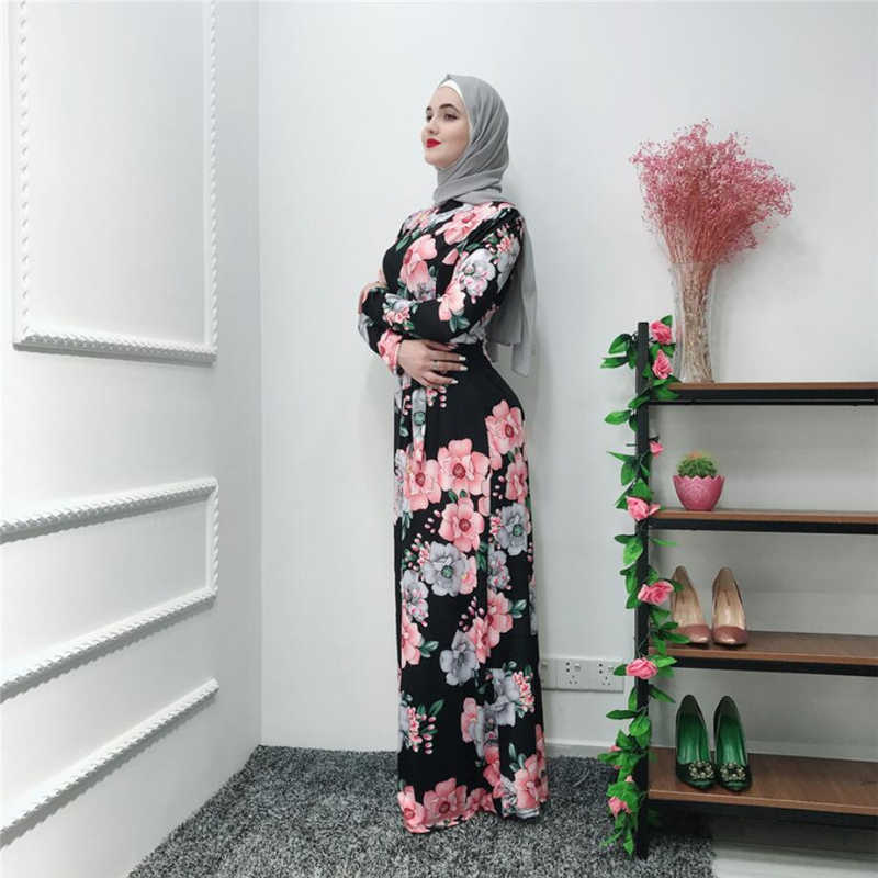 فساتين عربية عصرية متواضعة بالزهور للنساء مقاس كبير ملابس إسلامية في دبي 2019 فستان ماكسي إسلامي نحيف