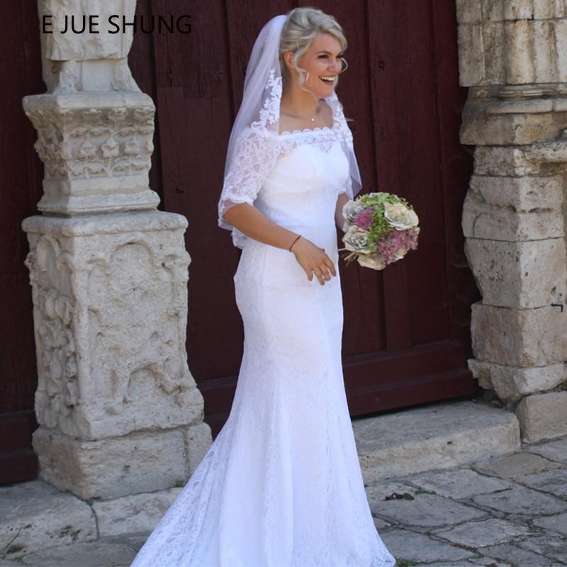 E JUE SHUNG White Lace Mermaid Wedding Dresses Off The Shoulder Half Sleeves Beach Bridal Dresses Wedding Gown Vestidos De Novia
