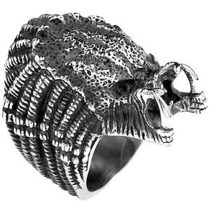 Punk Vintage Alien Predator Finger For Men Gothic Style Movie Ring Stainless Steel Jewelry Gothic Style Movie Punk Biker Ring
