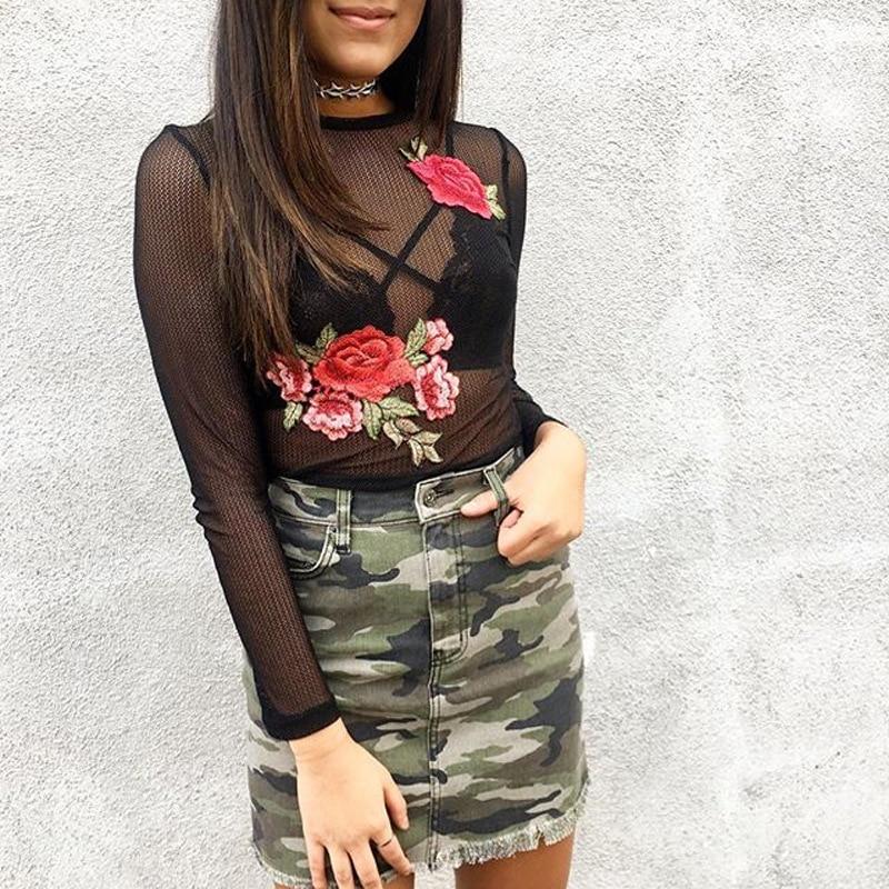ELSVIOS Sexy transparente de encaje negro camisa de la blusa 2017 de La Moda de malla bordado Floral de la blusa de manga corta Mujeres tops blusas