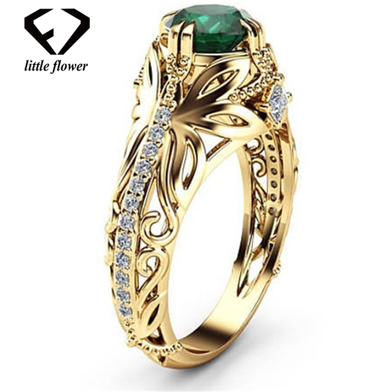 14K Gold Diamond Emerald Wedding Ring Jewelry Ornament Etoile Anillos Diamond Bizuteria For Women Emerald Jade 14K Gemstone Ring