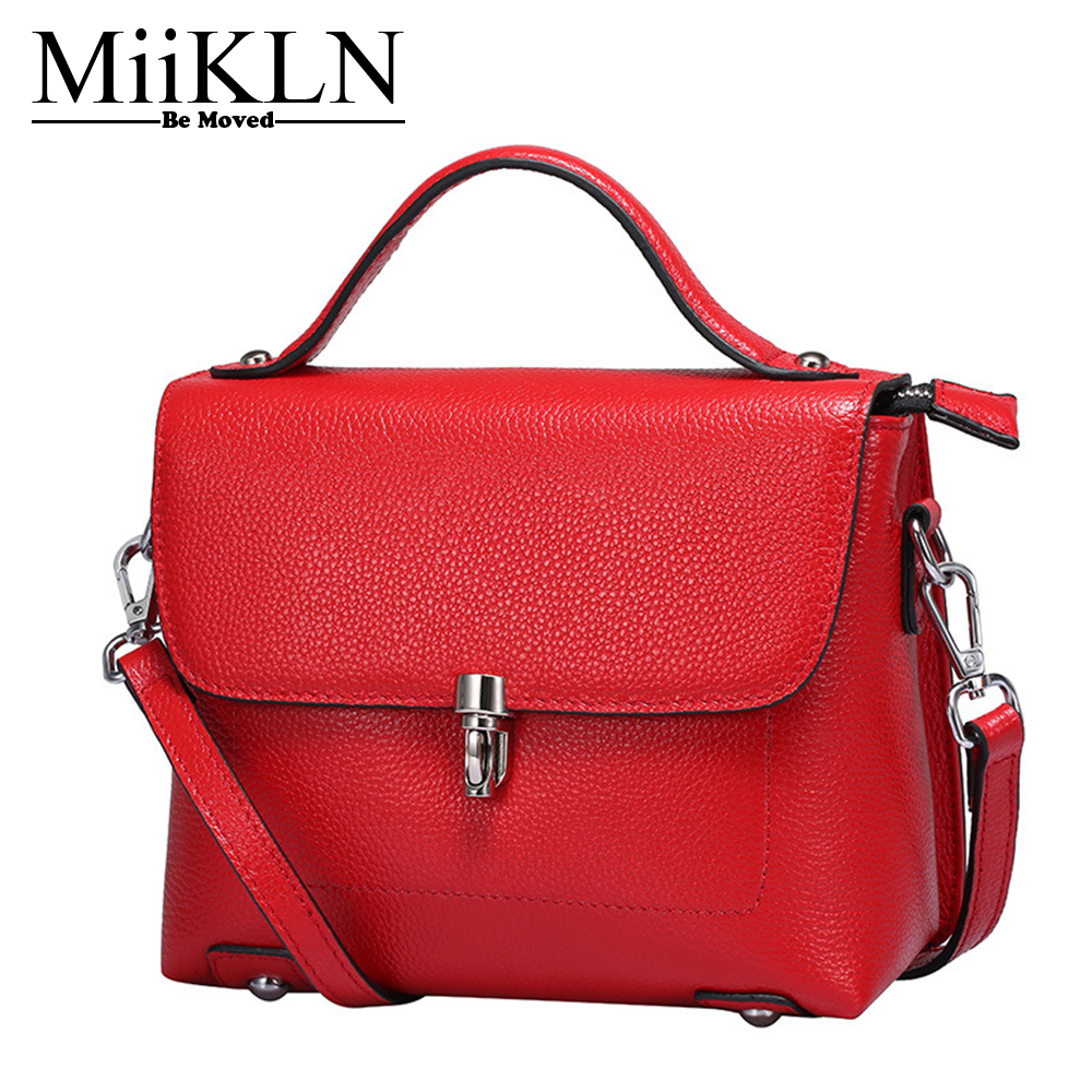 MiiKLN Red Purple Blue Genuine Leather Women Flap Small Mini Bag For 2017 New Ladies Cow Leather Handbag Solid Crossbody Bags new arrival 2018 genuine leather bags women vintage pillow cow leather handbag ladies solid casual small crossbody shoulder bag