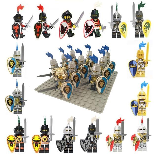 10 unids Edad Medieval Castillo caballeros León Dragón de Oro Slive Halcón compatible Building Block Roma Guerrero caballero de la figura
