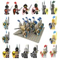 10pcs Medieval Age Castle knights Lion Golden Dragon Slive Hawk compatible Building Block Rome Warrior knight figure
