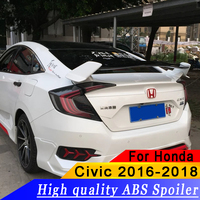 For Honda Civic 2016 2018 High Quality ABS Large Racing Wing Bracket Stand Auto Car Spoiler Primer or DIY Color Spoiler