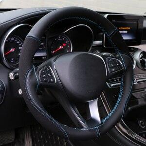 Image 2 - O SHI CAR 38cm DIY Steering Wheel Cover Wear resistant Soft PU + Suede Leather Car Steering Wheel Braid With Needles Thread