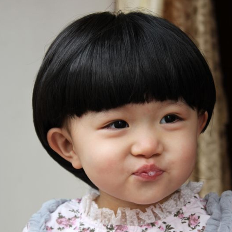 Photograph Children Mushroom Wig Of Baby Girl Boy Short Hair Straight Bangs Cute Childrens On Aliexpress