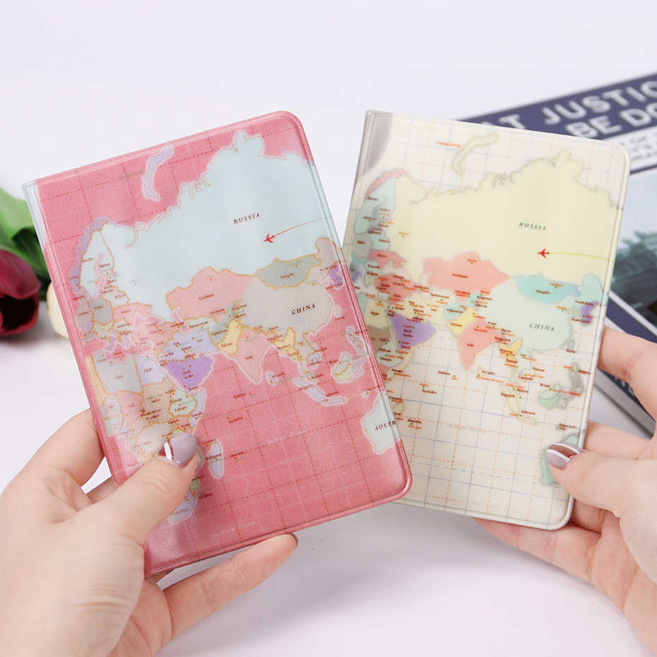Fashion PU Leather Waterproof Map Passport Cover Pink White Travel Passport Holder Pouch ID Card Holder for Men Women