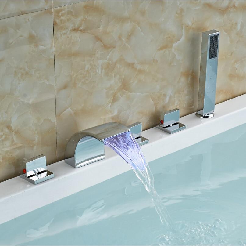 Plastic Handheld Shower Faucet for Bathroom Bathtub Triple Handles One Waterfall Spout