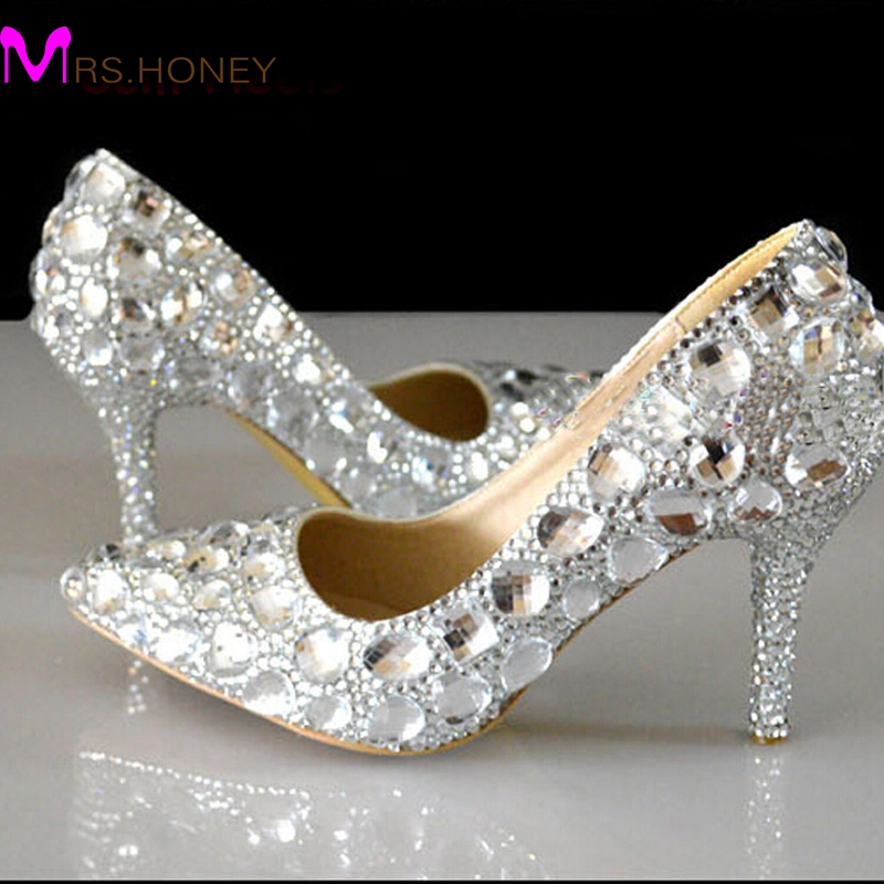 Silver Rhinestone Wedding Shoes Pointed Toe Crystal Heels Party 3 Inches High Heel Prom Pumps Bridesmaid In Women S From On