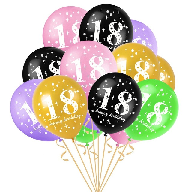 10pcs 12inch Happy 18th Birthday Balloons 18 Years Old Decoration Air Balloon Globos Event Party