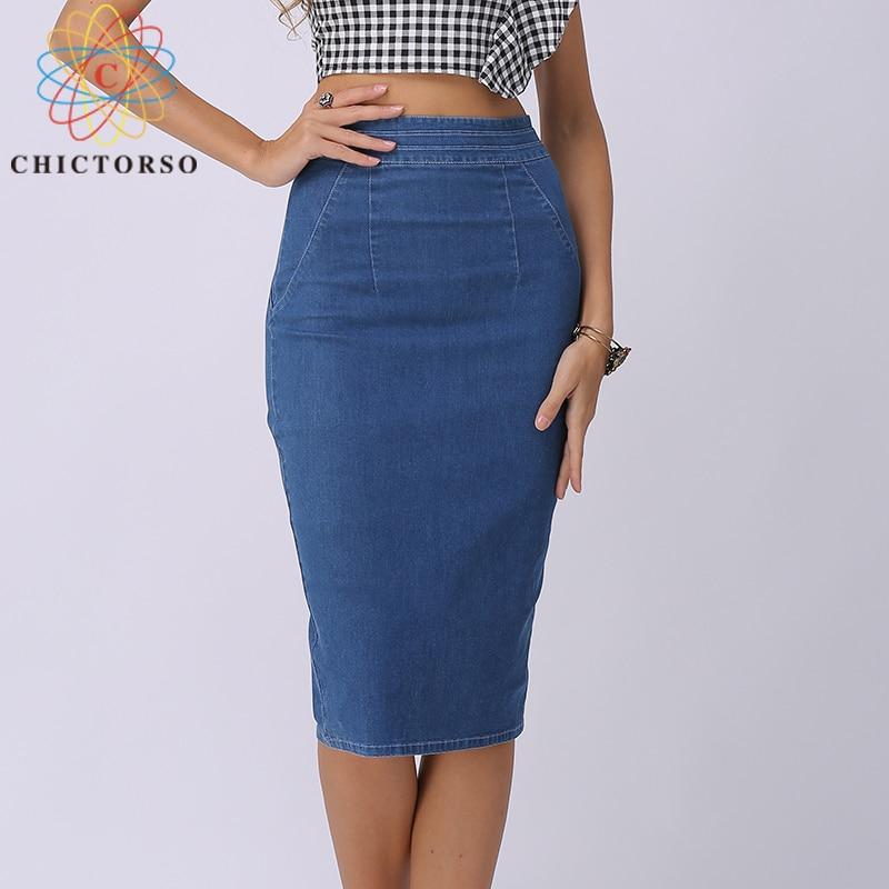 a701a43af7 Chictorso Sexy High Waist Denim Skirts Blue Bodycon Pencil Skirt Women Plus  Size Summer Skirt Long