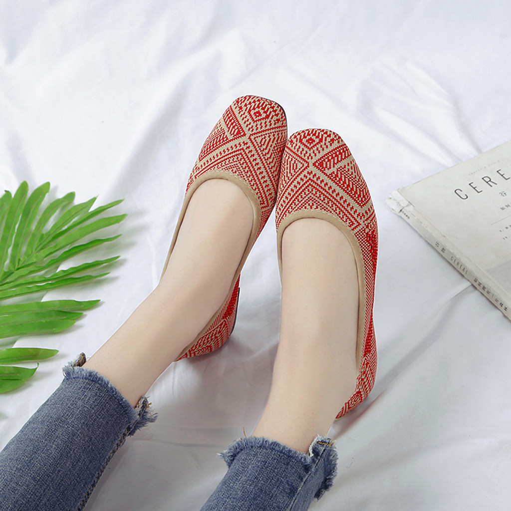 Single-Shoes Casual Sandals Square Toe Work Roman-Pattern Women's Flat with Soft Bottomed