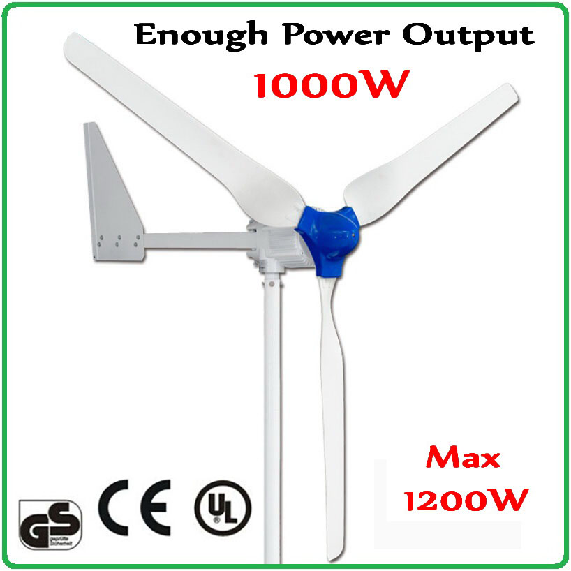 1000W wind turbine generator enough-power output 48V or 24V AC three phase 2.1m super-long Rotor Max 1200W Wind Generator maylar 1000w wind grid tie inverter for 24v 48v 3 phase wind generator turbine lcd display 180 260vac