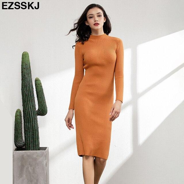 Ôm Nữ Thu Đông Midi Áo Len ĐầM Sexy Bodycon Đầm Dài Tay Áo Dây Đầm Chắc Chắn Cơ Bản Đầm Dệt Kim Chắc Chắn
