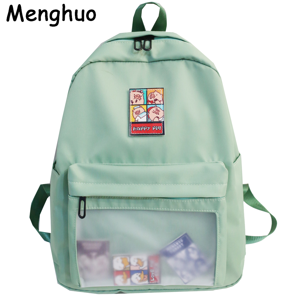Menghuo Women Backpacks Bags Mochila Clear Transparent Teenage Girls Fashion Student title=