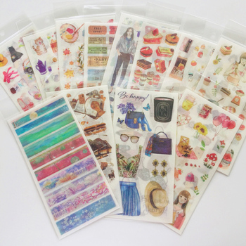 19 Style To Choose 3 Sheets /Pack Delicious Foods Girls Vintage Washi Paper Sticker Decorative Stickers - discount item  18% OFF Stationery Sticker