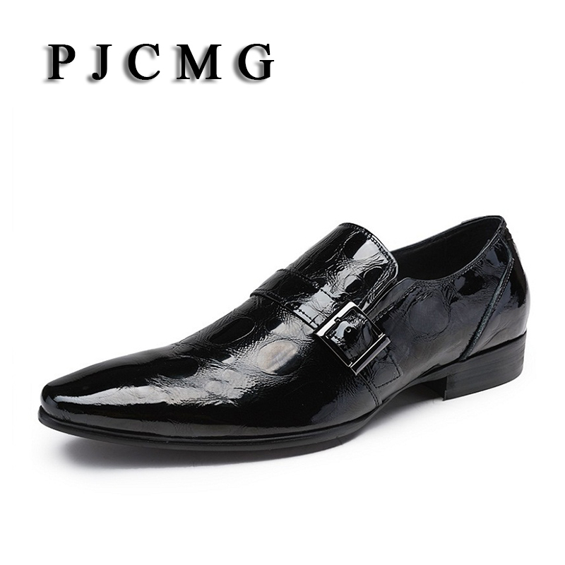 PJCMG New Fashion Black Crocodile Design Handmade Genuine Leather Slip-On Pointed Toe Business Dress Men Oxford Office Shoes branded men s penny loafes casual men s full grain leather emboss crocodile boat shoes slip on breathable moccasin driving shoes