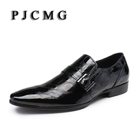 PJCMG New Fashion Black Crocodile Design Handmade Genuine Leather Slip On Pointed Toe Business Dress Men