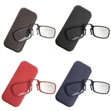 Guanhao Nose Protable Resting Reading Glasses Keychain Unisex Wallet clip on Mini With Case +1.0+4.0