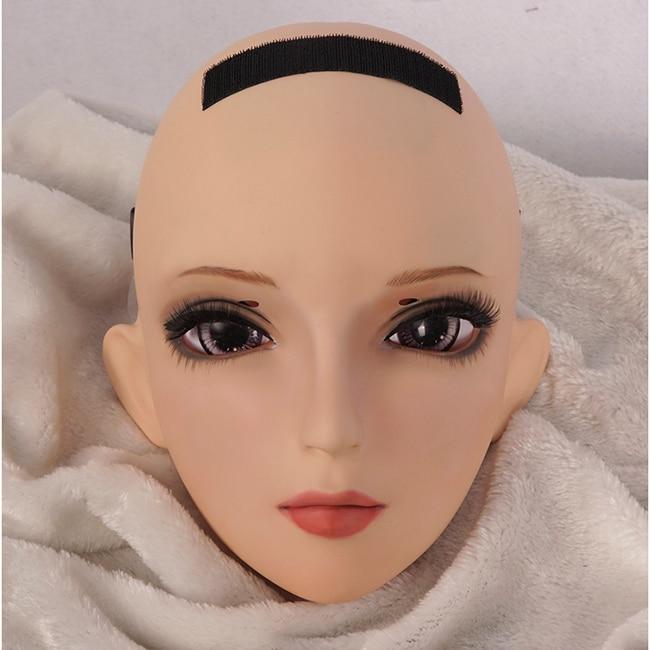 female Sweet Girl Resin Half Head Kigurumi Bjd Mask Cosplay Japanese Anime Role Lolita Lifelike Real Mask Crossdress Doll dm004 Reliable