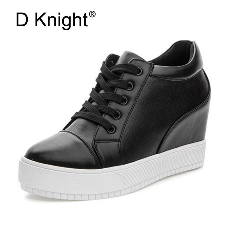 Women Increased Internal Casual Platform Shoes Breathable Lace-up Thick Bottom Heel Shoes For Woman Summer Black White Creepers minika breathable mesh lace shoes women thick bottom shallow mouth women casual shoes slip on flat shoes women high quality