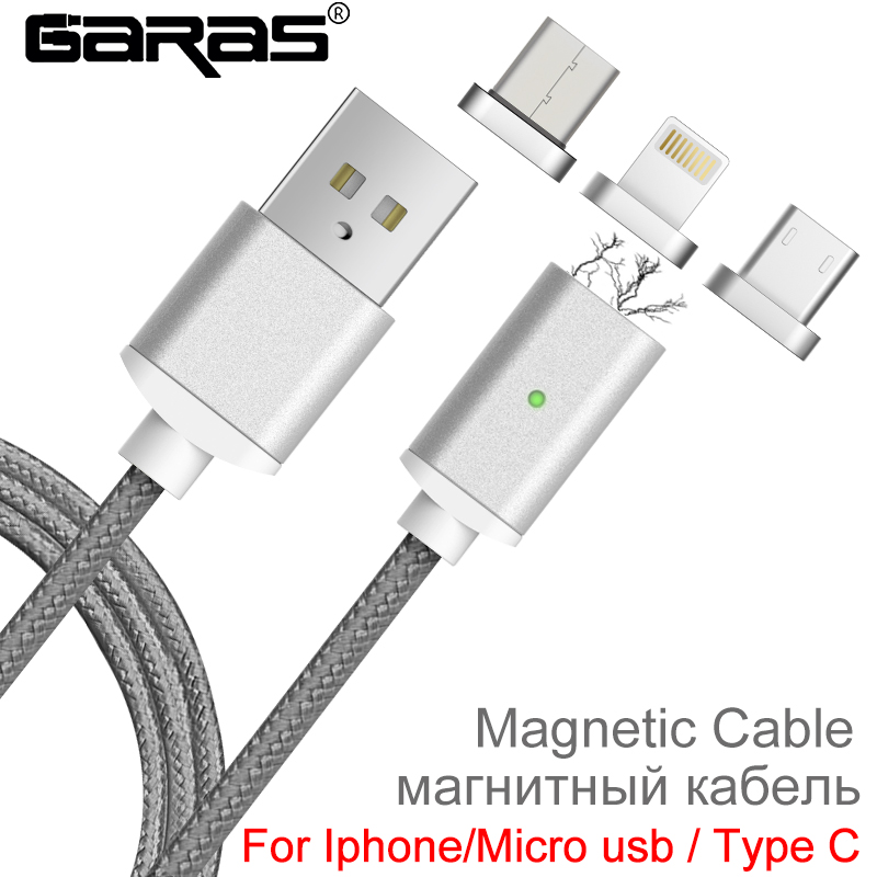 GARAS Magnetic Cable For Iphone/Micro USB Type C Cable Adapts