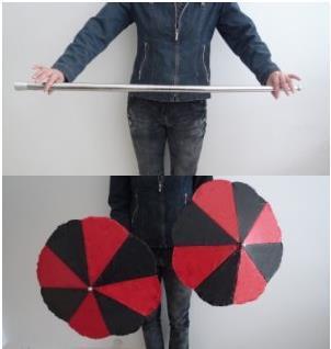 Baguette en deux parapluies-gros plan tours de magie, tours d'illusion, apprenti magicien d'illusion, accessoires de magie pour magiciens