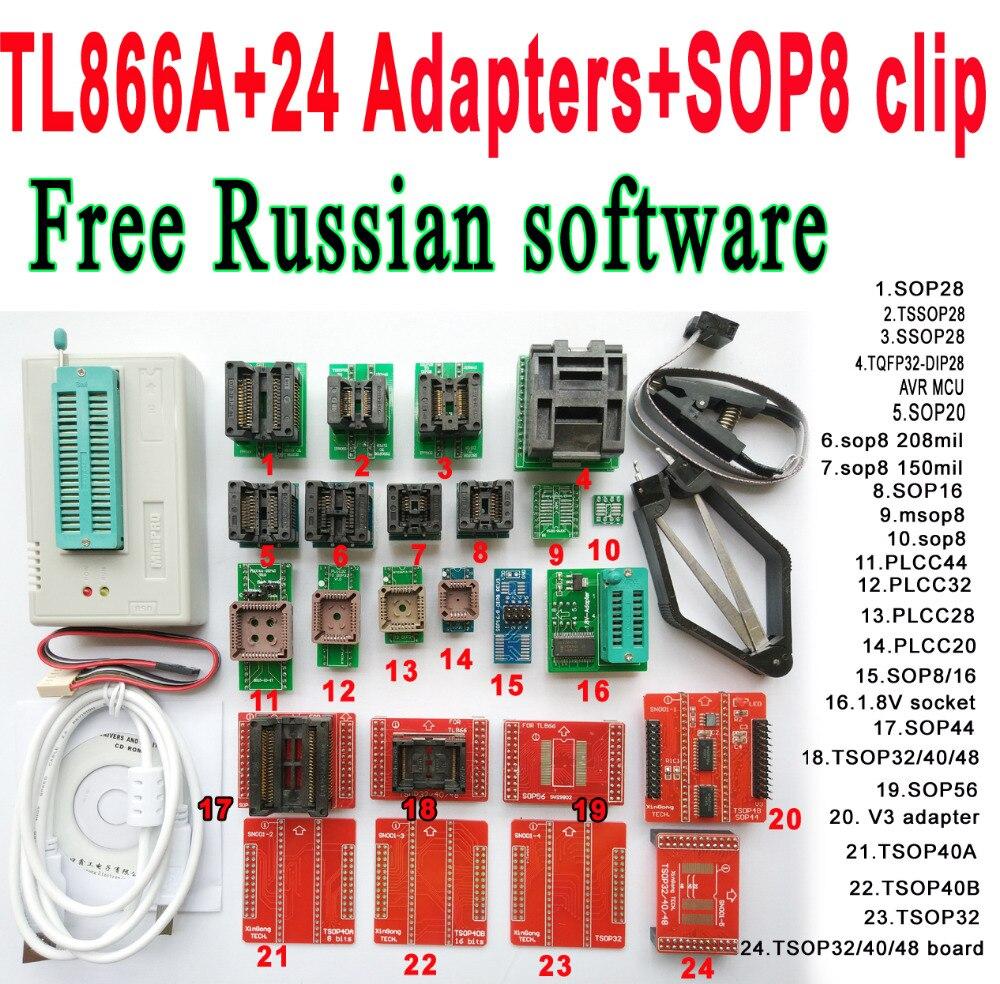 Free Russian software Original Minipro TL866A programmer 24 adapter socket SOP8 Clip IC clamp V6 6