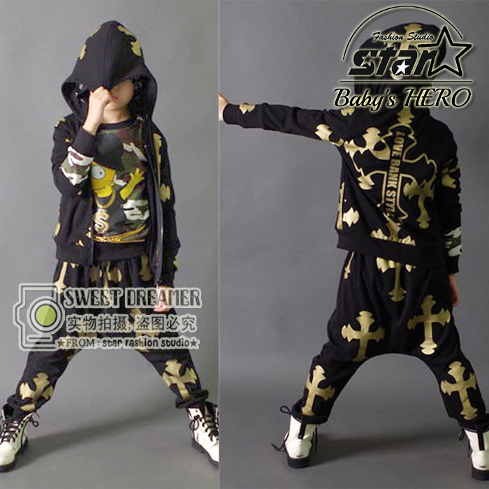 Boys Modern Jazz Dancewear Outfits Kids Hip Hop Party Ballroom Dance Costumes Sweatpants + Hoodie costumes tracksuit outfits new kids dancewear set boys girls sequined stage performance costume modern jazz hip hop dance wear top