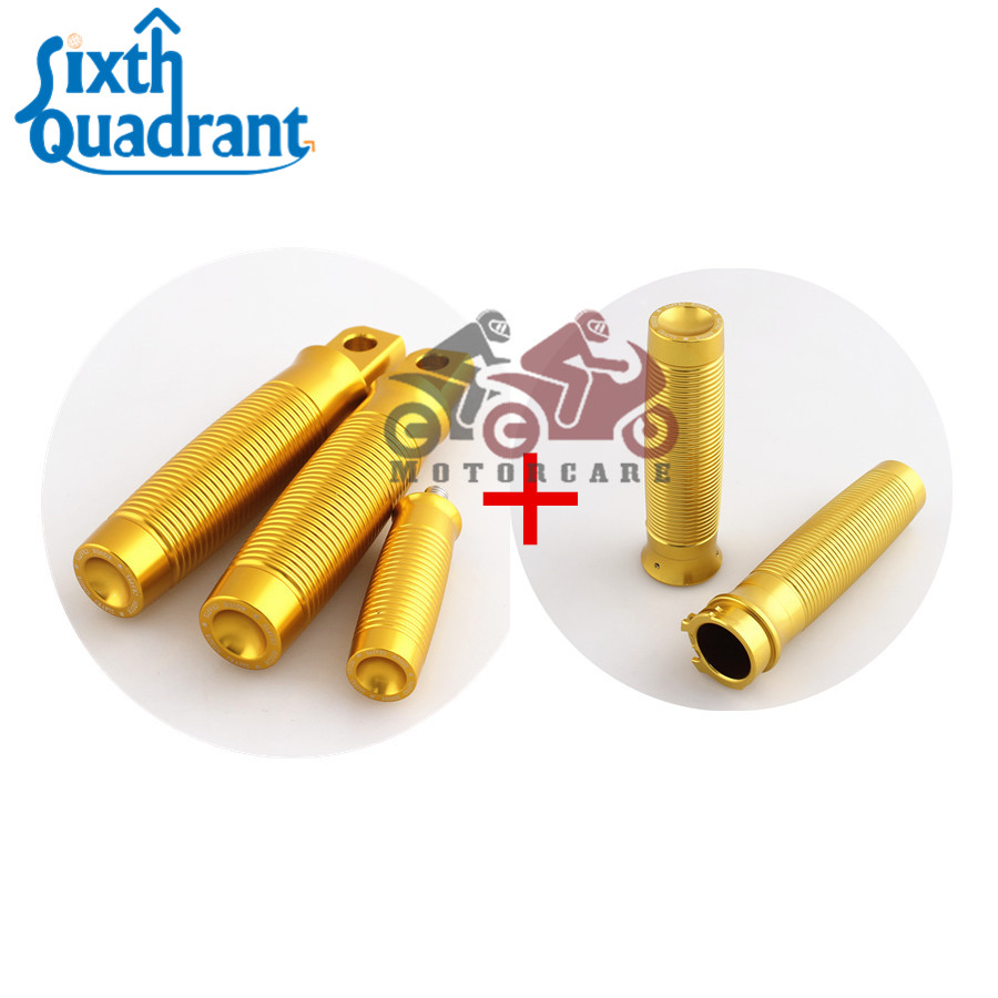 Free Shipping Motorcycle Rough Crafts Rc Golden Handle Grips Footrest Shifter Peg For For Harley Dual Cable Models Custom