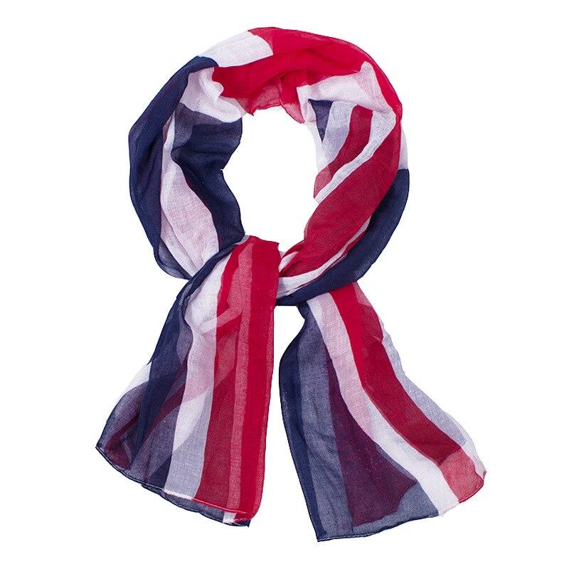 2017 New Fashion Scarfs For Women Lightweight Blue England Flag Printing Polyester Long Scarfs 160*55cm