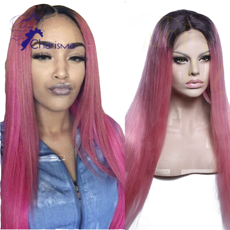150 Density Human Hair Lace Front Wig Hair Color Pink