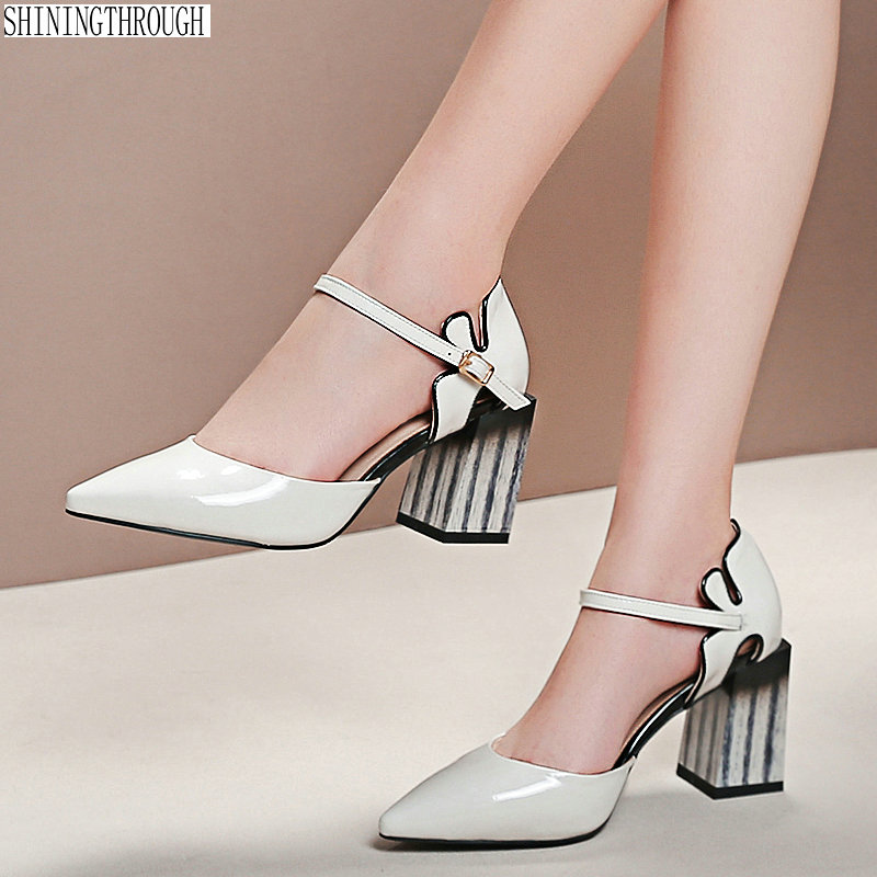 2019 Genuine Leather Office Lady Pumps summer Women Shoes Woman Square High Heels black white  Szie 41 42 432019 Genuine Leather Office Lady Pumps summer Women Shoes Woman Square High Heels black white  Szie 41 42 43