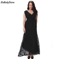4731745c12a 6XL 7XL Plus Size New Style Women Elegant Casual Black Sexy Lace Patchwork Long  Summer Dress