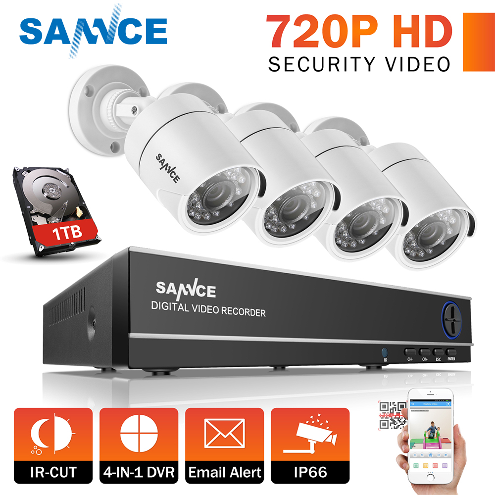 SANNCE 4CH 720P CCTV Security System 1080N HD DVR and 4pcs 720P 1.0MP white Cameras 4 channels 1280TVL Surveillance kits original ijoy saber 20700 vw mod with 100w max output