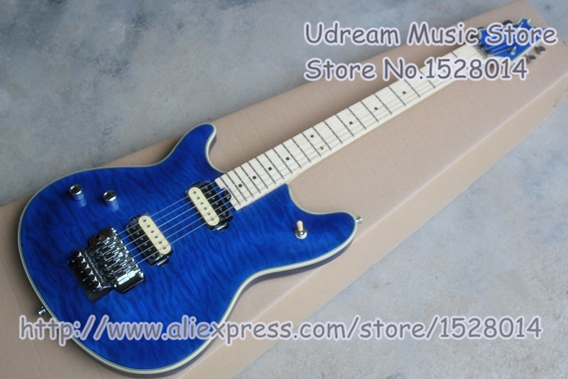 New Arrival Blue Quilted Finish Lefty Wolfgang Electric Guitars With Chrome Floyd Rose Tremolo Free Shipping new arrival matte black finish wolfgang evh electric guitars chinese solid guitar body