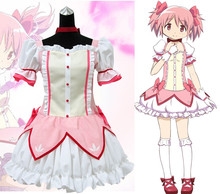 2017 New Anime Puella Magi Madoka Magica Cosplay Costume Pink Fancy Dress Halloween Adult Costumes for Women Custom Any Size недорого