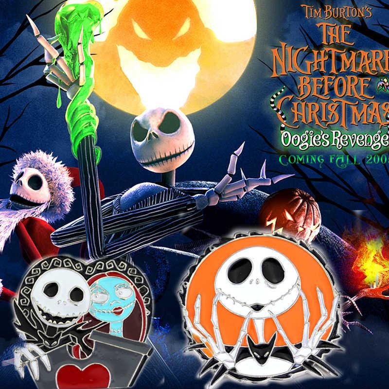 Mimpi Buruk Sebelum Natal Tengkorak Mark Fashion Pin Bros Hadiah untuk Pria dan Wanita dari Karakter Film Perhiasan Hadiah Halloween