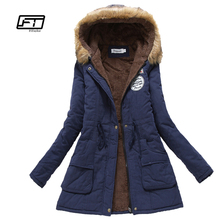 Nuevo invierno militar abrigos mujeres algodón wadded chaqueta con capucha medio-largo casual parka espesor más tamaño XXXL edredón nieve outwear