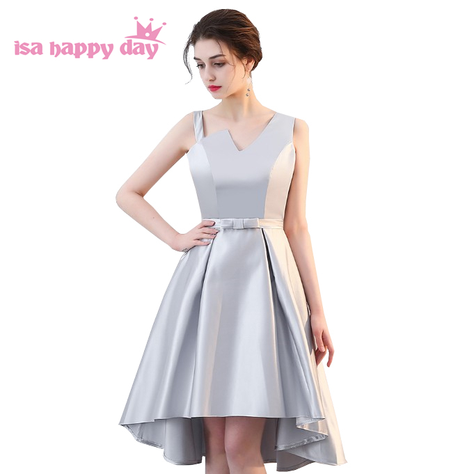 corset high low teen gown grey one shoulder   bridesmaid     dress   short beautiful party   dresses   long from back   dress   for women H4260