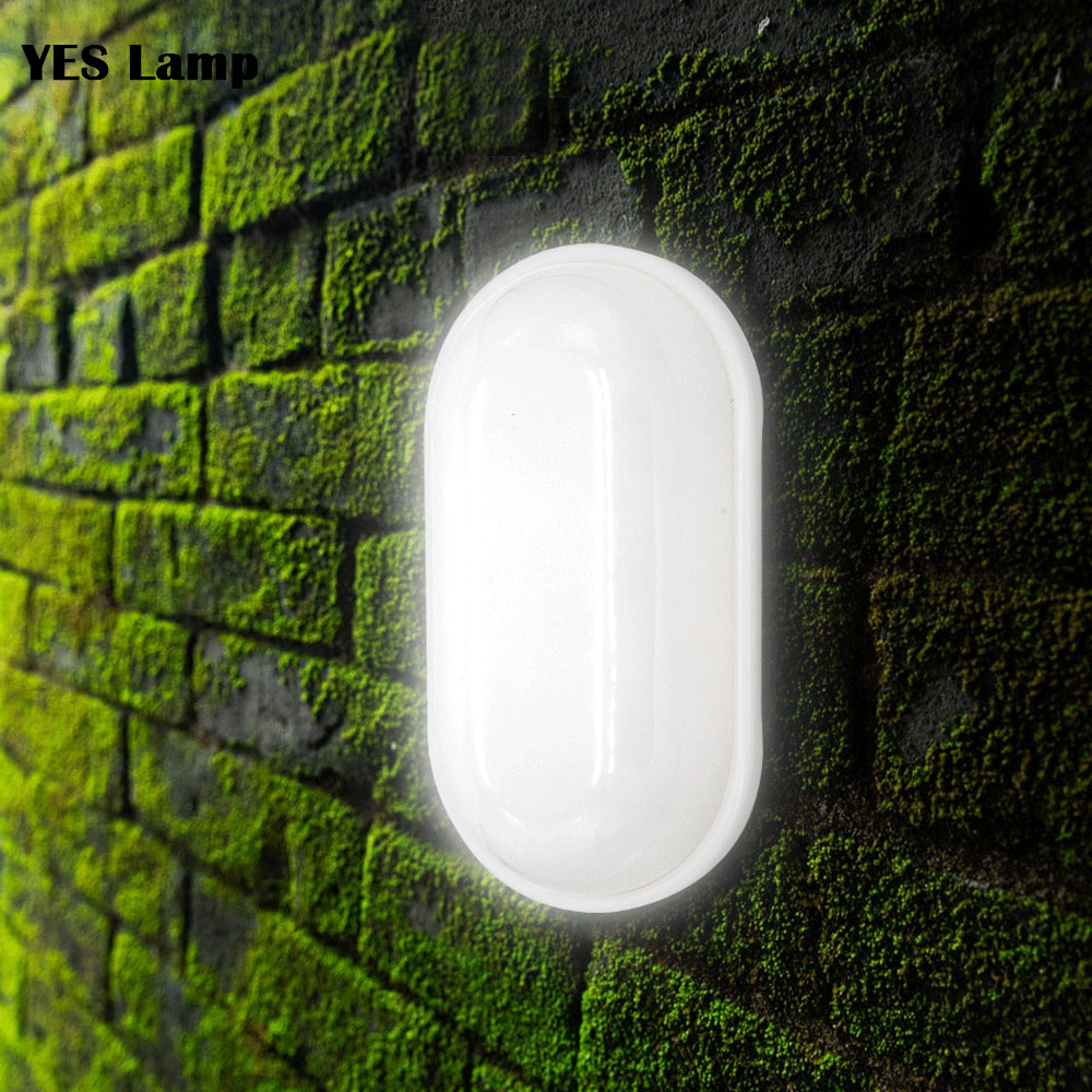 LED Waterproof IP65 LED Porch Lights Surface Mounted 16W 20W 110V 220V Outdoor Wall Light Round Oval Bathroom Bulkhead Lamp